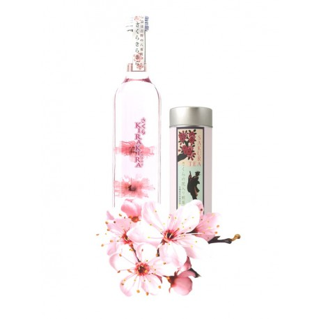lot of one bottle of Sakura liqueur and sencha tea box with sakura leaves