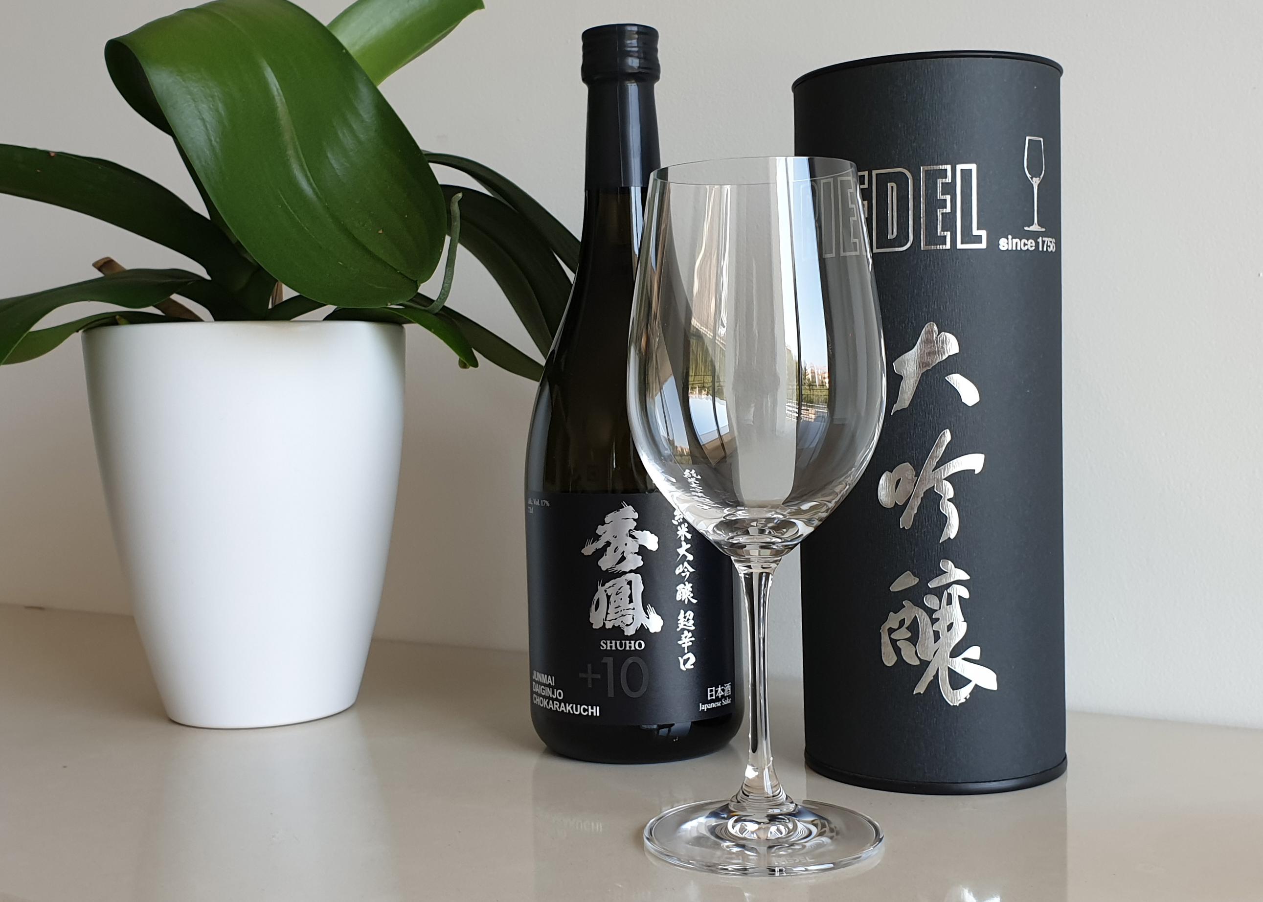 Exemple verre a saké Riedel Vinum Daïginjo et le saké japonais Shuho Daïginjo