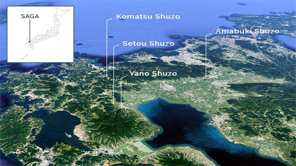 carte de la préfecture de saga au japon avec localisation des brasseries