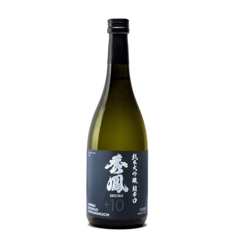 Bouteille de saké japonais Shuho +10 Junmaï Daïginjo Chokarakuchi
