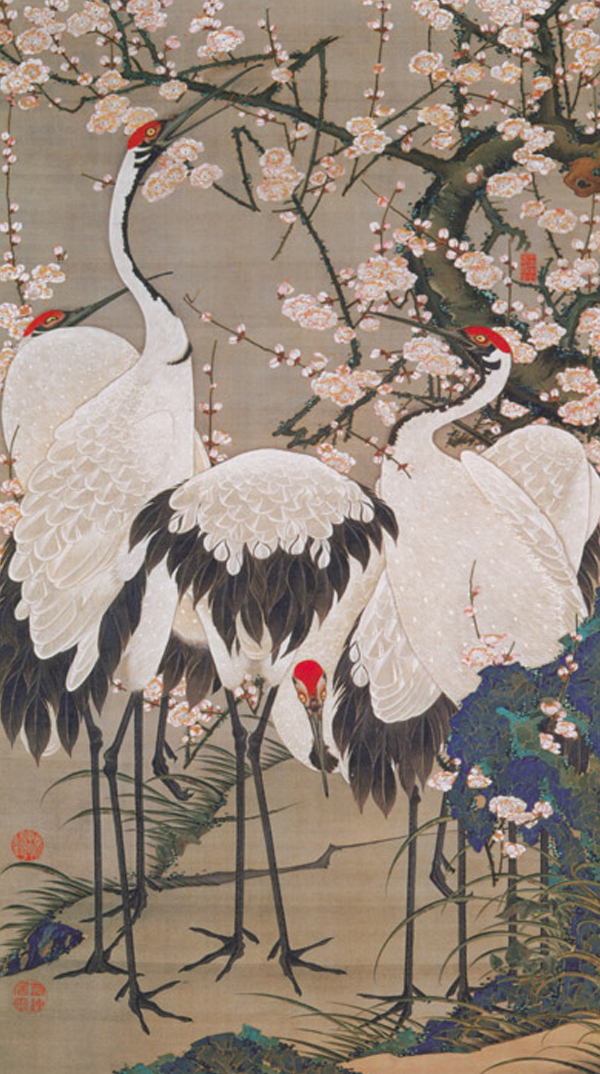 Image de peinture japonaise représentant un arbre prunier