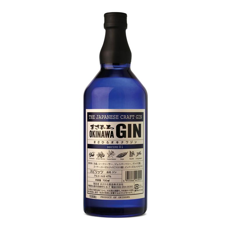 Bouteille de gin japonais d'okinawa masahiro gin