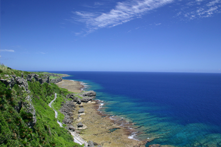 Sea views from the cliffs of the island of Iejima in Okinawa