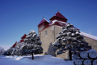 Outside view of Nikka distillery under the snow