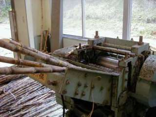 Sugarcane pressing for Japanese rum production in the distillery of Ogasawara