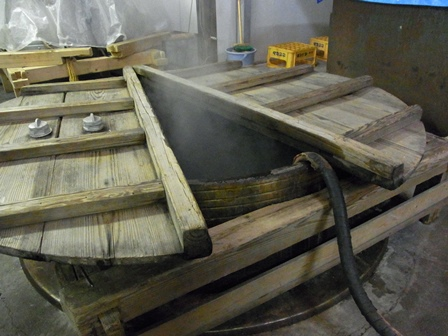 In the sake factory of Asahara Shuzo, rice is being steam
