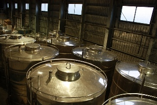 The stainless steel tanks in which is stored the awamori of Sakimoto Shuzo distillery in Yonaguni